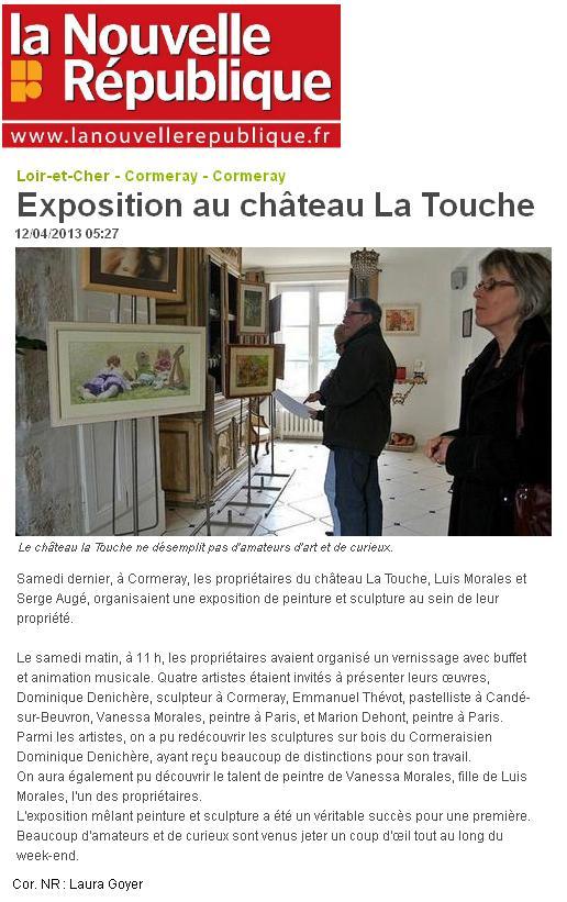 20130412 - La Nouvelle Republique - Exposition au chateau La Touche